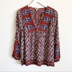 Lucky Brand Floral Cotton Boho Peasant Blouse M